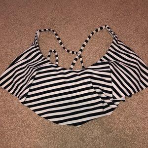 Target Flounce Striped Bikini Top